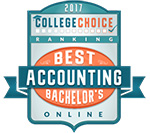 """Best Online Bachelor's in Accounting Degrees"" by College Choice Award Badge"