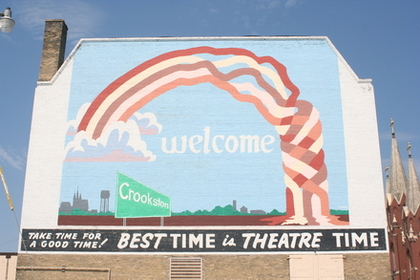 welcome mural on Crookston's Grand Theater
