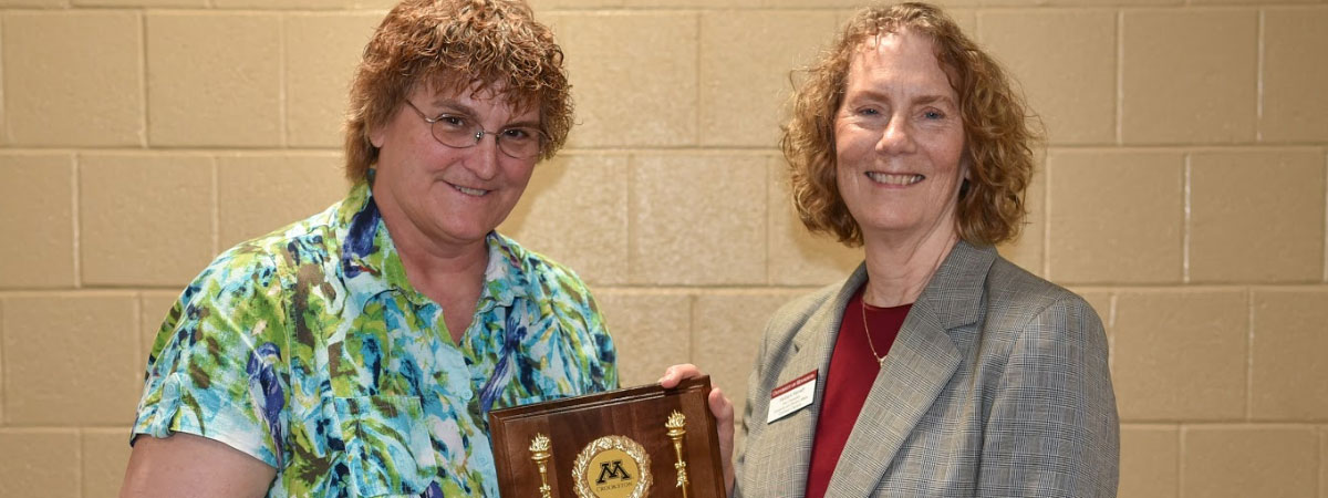 Margo Rudstrom, 2018 award recipient and Barbara Keinath, presenter.