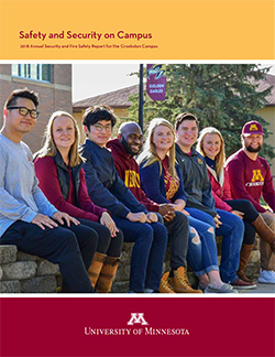 Safety and Security on Campus Booklet Cover for 2018 - Annual Security and Fire Safety Report for the Crookston Campus