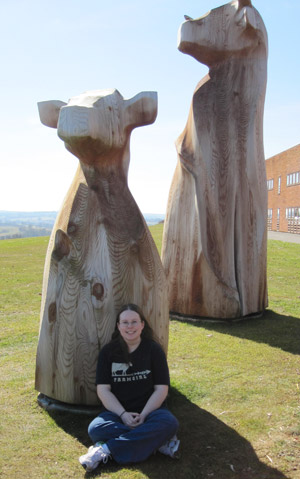 A student is standing next to a wooden cow