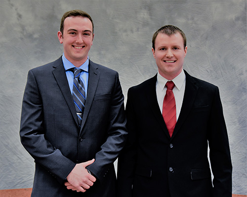 UMC Student Awards Outstanding Criminal Justice Student Luke Taschuk with teaching specialist Matthew Loeslie
