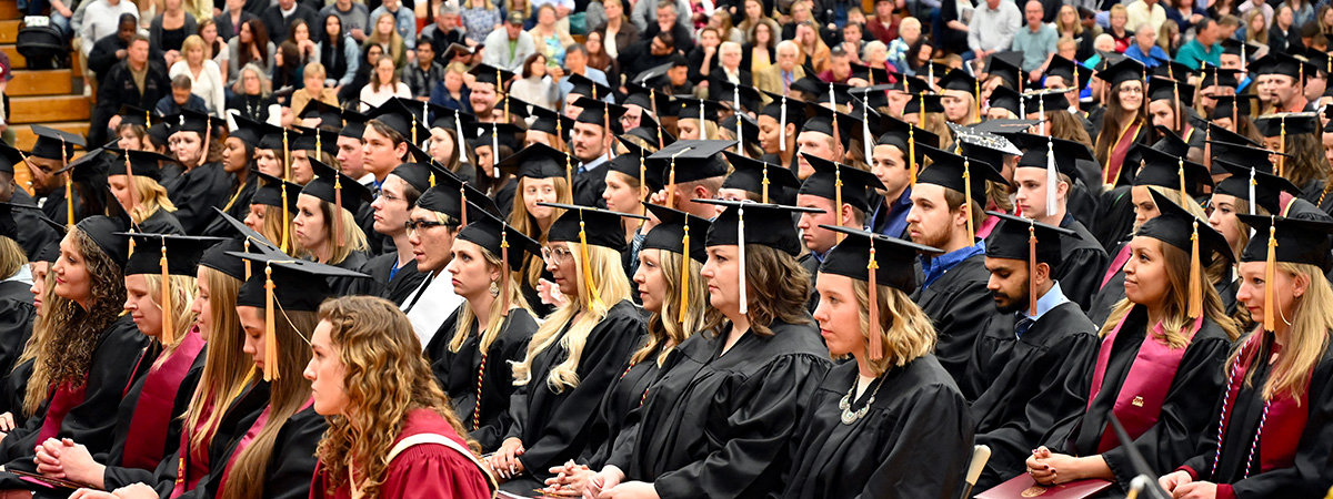 Graduating students sitting during the 2019 commencement address
