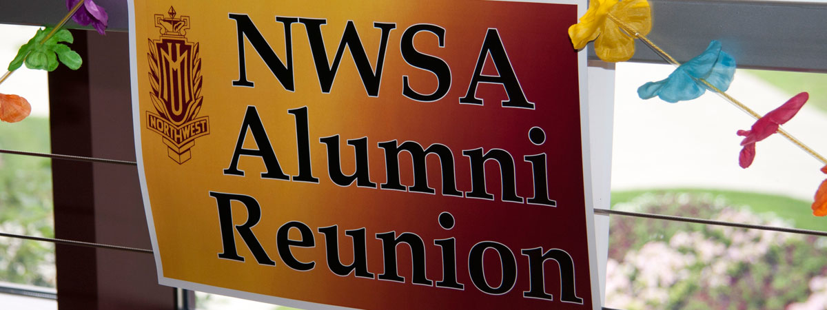 NWSA Alumni Reunion sign hanging in Sargeant Student Center