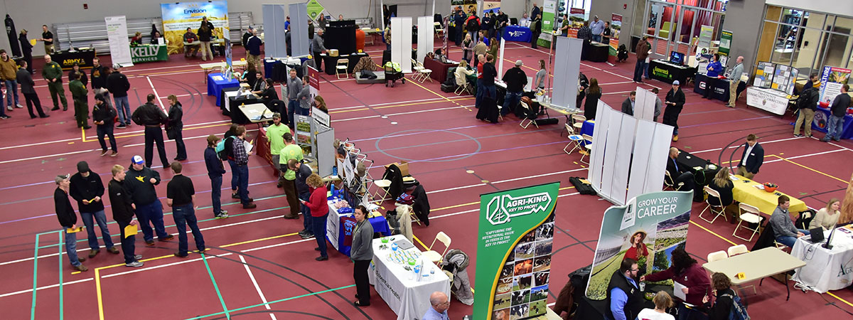 UMC Job & Internship Fair - Looking down from above at all the booths