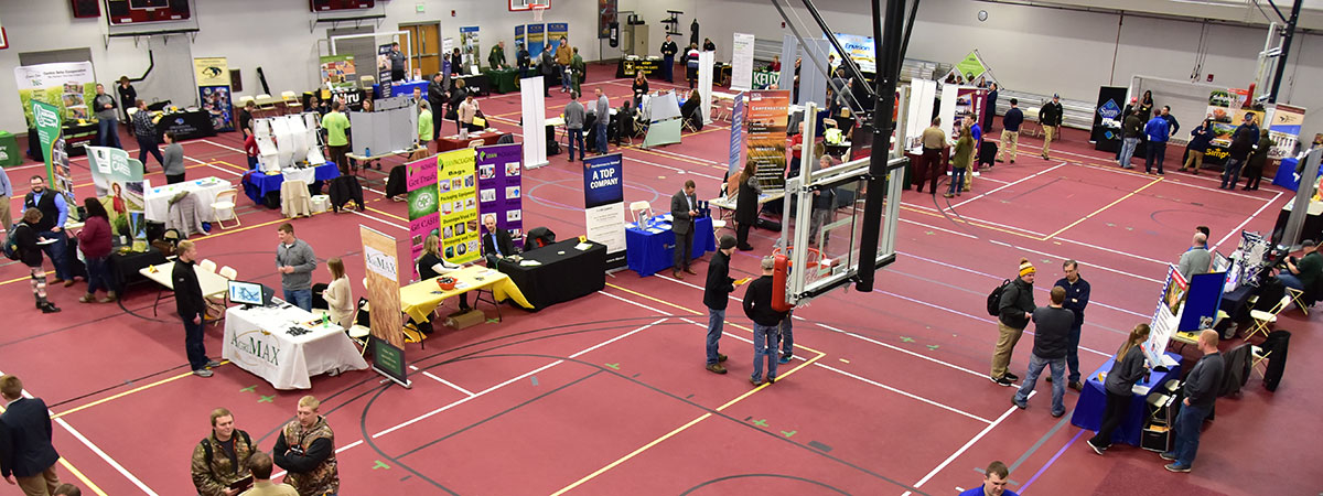 UMC Job & Internship Fair - Looking down from above at all the booths from a different angle