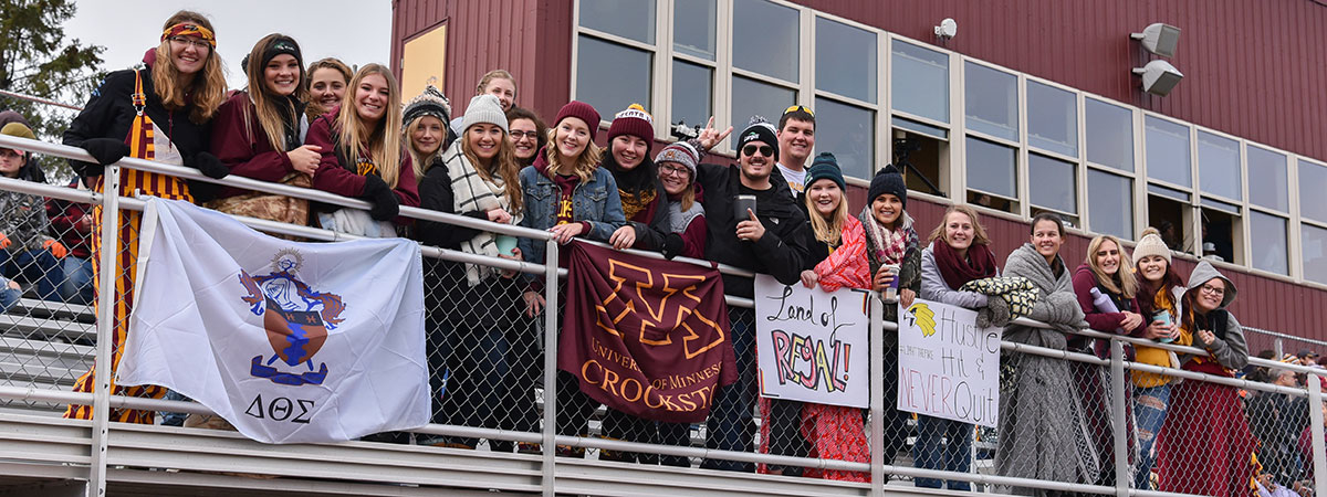 Student fan section of the UMC Homecoming Football Game