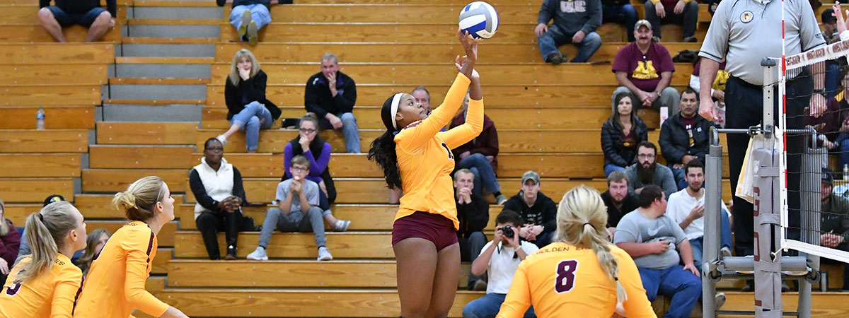 UMC Volleyball Team playing during the 2018 Homecoming Weekend in Lysaker Gymnasium