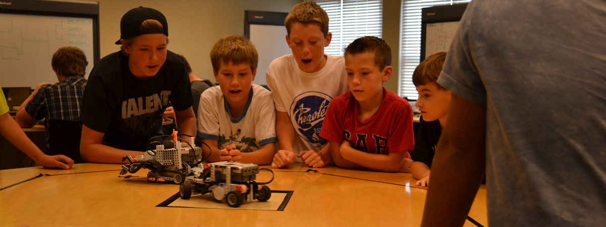 Another group of students working on a Robotics project