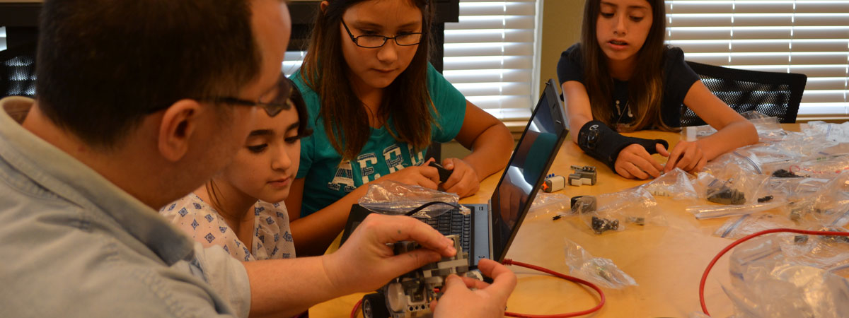 Students working on a Robotics project