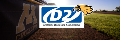 Athletics Directors Association (D2) logo with Golden Eagle mascot in the background.