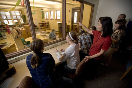 the observation room, where students and faculty can observe teaching and learning