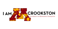 I am Crookston Twitter cover graphic with maroon and gold paint swooshes