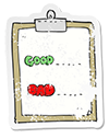 clipboard icon with good and bad checkmarks
