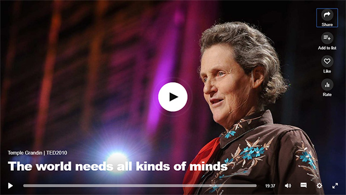 Temple Grandin TED 2019 Talk - The needs all kinds of minds - click to play