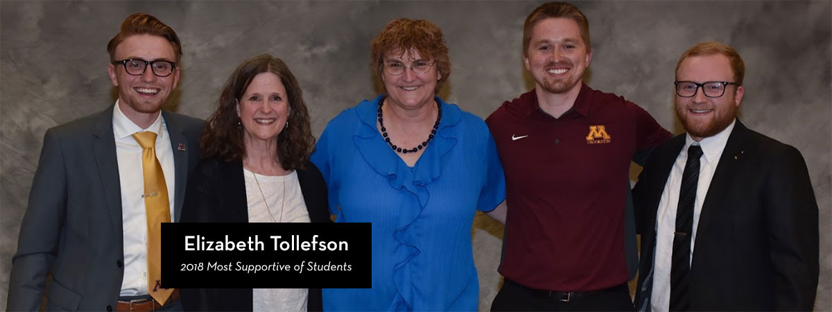 Elizabeth Tollefson, 2018 Most Supportive of Students award recipient
