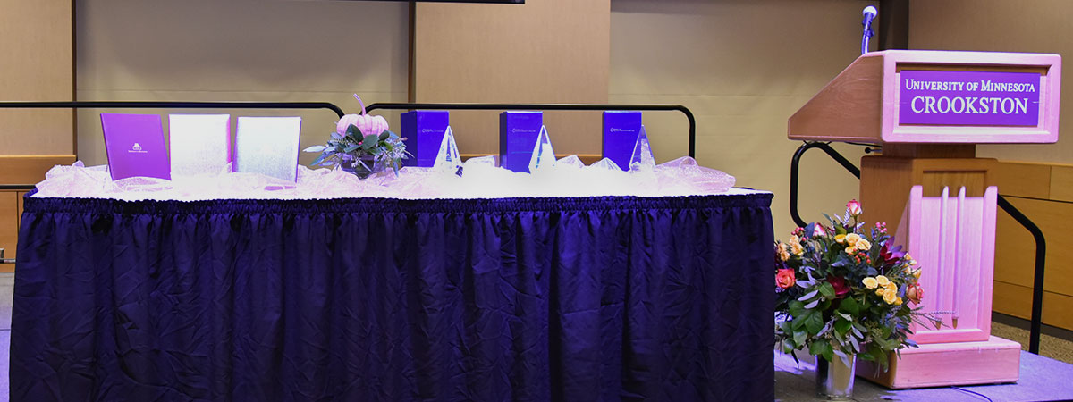 Torch and Shield awards sitting on the table at the Torch & Shield event.