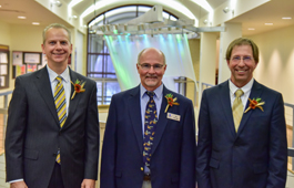 Left to right, are 2017 Torch & Shield Recipients: Tom Astrup, president and CEO of American Crystal Sugar; Jim Snyder, president and marketing manager of Bremer Bank; and Justin Dagen, a 5th generation farmer and member of the County Extension Committee