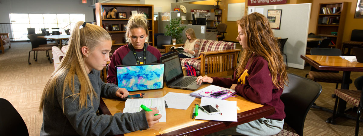 Students studying in the Student Success Center