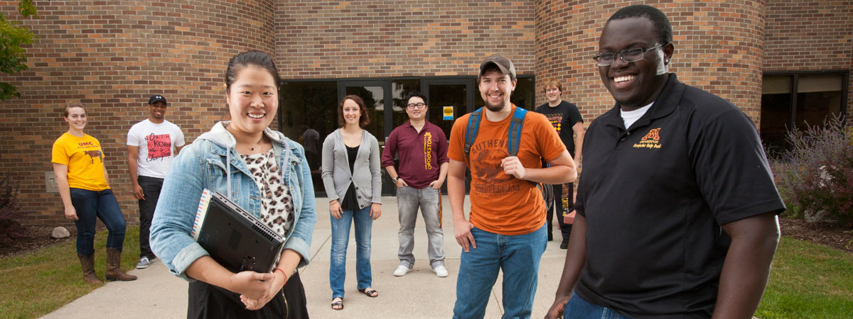 A Group of Students standing outside