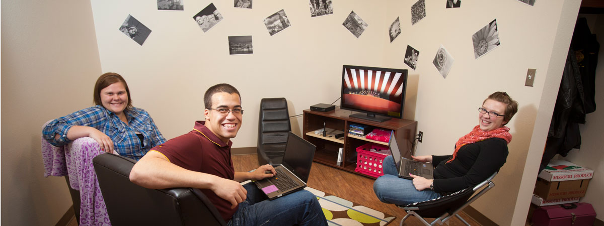 Students in there dorm in Heritage Hall