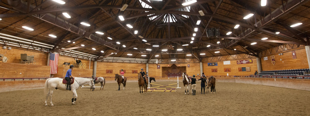 students riding in the equine arena