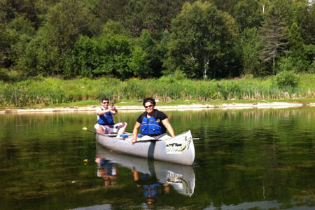 Student and Teacher canoeing